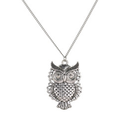 vintage cute owl hollow out pendant necklace fashion long sweater chain colar collier necklaces women charm jewelry wholesale
