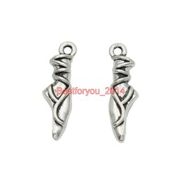 Wholesale Ballet Dancer Bracelet - Tibetan Silver Plated Ballet Dancer Foot Charms Pendants for Jewelry Making Earrings Bracelet Necklace Accessories Findings 23x7mm