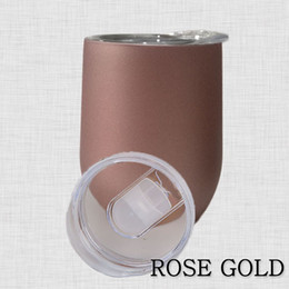 Wholesale Vacuum Cooling - ROSE GOLD Insulated Wine Mug 9oz Egg Cup Vacuum flasks Coffee Mugs with Lid Stemless Water Bottle Thermos Whiskey Glasses Keep Warm Cool