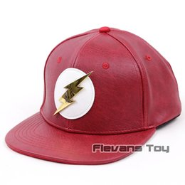 fa02933a49e flashing baseball caps 2019 - The Flash Baseball Cap Hip Hop Caps Leather  Sun Hat Snapback