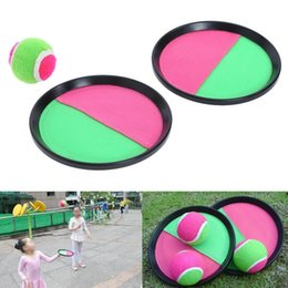 Wholesale disc balls - Throw Catch Ball Sticky target racket Ball Toys Children Toys With Disc Sticky Baseball Kids Fun Baseball Sports FFA041