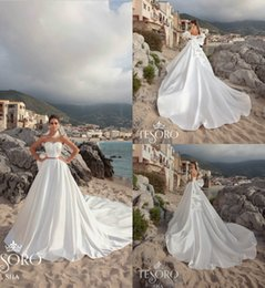 big red bow belt Coupons - 2019 Satin Wedding Dresses A Line Sweetheart Big Bow Belt Court Train Sleeveless Country Beach Wedding Dress Detachable Sleeves Bridal Gowns