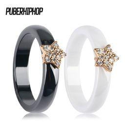 rhinestone star ring 2018 - Gold Color Star Women Rings With Bling CZ Rhinestone 4MM Smooth Black White Ceramic Rings Jewelry Wedding Anniversary Gift