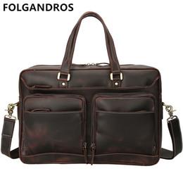 Дизайнерские сумки италия онлайн-FOLGANDROS  Men's Genuine Leather Briefcases Italy Designer Vintage Business Bag Gentlemen Classic Top Quality Briefcase