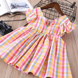 Wholesale colorful girl clothes - Everweekend Sweet Kids Girls Fly Sleeves Colorful Plaid Dress Cute Party Girls Summer Fashion Western Dress Clothing