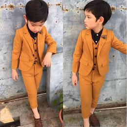 Wholesale Kids Blazers Boys - Child Blazer Suit Age:2-10T ( vest + jacket + Pant ) 3parts Kids Costume Wedding Flower boy Dress Prom Suit baby clothing set