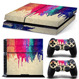 Wholesale Xbox Vinyl Decals - 2018 ARRKEO Painting Vinyl Cover Decal PS4 Skin Sticker for Sony PlayStation 4 Console & 2 Controller Skins Stickers Colourful