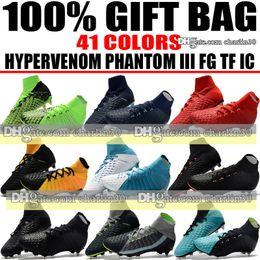 Wholesale cheap low heel boots - New Cheap Hypervenom Phantom III DF FG ACC Men Soccer Shoes IC TF Hypervenom Phantom Indoor Soccer Cleats Turf Football Boots Free Shipping