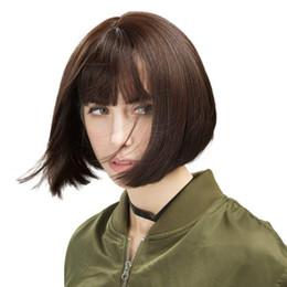 Canada Perruque courte et droite avec la perruque synthétique synthétique Bang pour femmes noires, brun foncé Offre