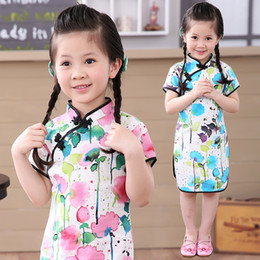 Wholesale Short Traditional Chinese Dresses - Chinese New Year Baby Girls Dress Ink Wash Painting Lotus Kids Traditional Qipao Children Cheongsam Linen Girl Clothes Vestidos