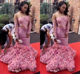 dos piezas de vestidos de color rosa formal Rebajas Rosa dos piezas africanas negras niñas sirena vestidos de baile largos 2018 fuera hombro flores hechas a mano vestidos formales Tardes Wear yousef aljasmi