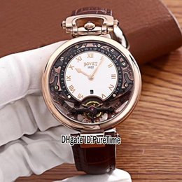 Observa complicaciones online-Nuevo Bovet Amadeo Fleurier Grandes complicaciones Virtuoso Rose Gold Skeleton White Dial Reloj para hombre Correa de cuero marrón Relojes deportivos A04b2