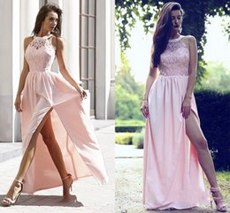 Vestido de noite pendurado pescoço on-line-Mais novo vestido de noite rosa rendas lado dividir o assoalho-comprimento pescoço vestido formal 2019 vestidos de ocasião especial frente divisão Custom Made