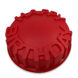 Wholesale cake decorating embossing - 6INCHE Round Baking Cake Pan Gift Happy Birthday Letters Embossing Craft DIY Decorating Tool Kitchen Accessories
