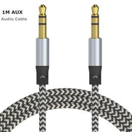 2019 tipos de conectores de altavoz Cable de extensión AUX de audio para automóvil Cable trenzado de nylon de 3 pies 1 M con cable auxiliar estéreo Jack 3.5mm Cable macho para Apple y Andrio teléfono móvil