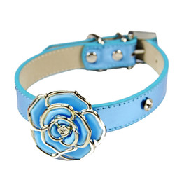leather flowering dog collar Coupons - Luxury Diamante Flower Bling Dog Collar Lead Soft Leather Adjustable Puppy Cat Collar Harness