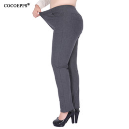 Wholesale Classic Pants For Women - Wholesale-2017 High waist skinny pants Winter Casual Fashion Classic Mom pants 7XL 8XL trousers for women Large Size Fatpantalon femme 9XL