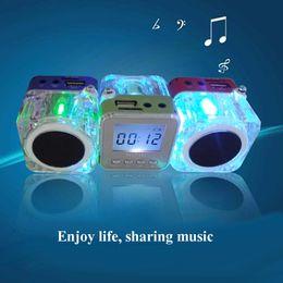 Wholesale Music Lcd - Nizhi TT-028 Portalble Speakers TT028 Subwoofer LED Crystal LCD Display Mini Music MP3 Player Loud Spearkers FM SD TF Card Christmas Gift