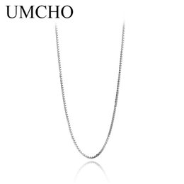 Canada UMCHO New Italian Box Chaîne Collier Pure 925 Solid Sterling Silver Fine Jewelry Pour Femmes supplier italian silver chain necklace Offre
