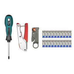 Wholesale combination pliers tools - multitool Coax Cable Crimper Multifunctional hand tools Coaxial Compression Crimping Tools Set + 20pcs F Compression Connectors