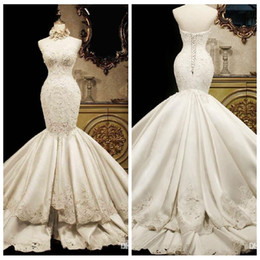 Wholesale Tail Skirts - Lace Mermaid Wedding Dresses 2018 Sweetheart Luxury Fish Tail Slim Waist Satin Big Long Train Princess Bridal Gowns Lace Up Back Tiered