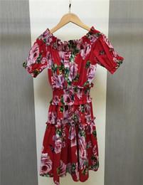 Vestido elástico de manga curta de algodão on-line-Ombro frio floral dress 2018 primavera verão moda 100% algodão de manga curta elástico na cintura do vintage dress tunique femme 2018