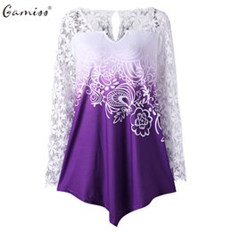 Wholesale Neck Yoke - Gamiss Women Lace T-Shirts Plus Size Casual Hollow Out Spring Long Sleeve Tees Female Loose Fashion Yoke Ombre V-Neck Print Tops
