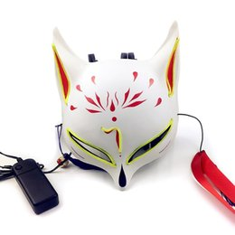 Ночная лиса онлайн-Маска Хэллоуина - EL Cold Radiance Fox Mask LED Night Fox Косплей Glow Dance Performance Хэллоуин карнавал реквизит