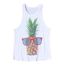 Wholesale T Shirt Glasses - Summer Style Tank Top 2018 Europe Sleeveless Glasses Pineapple Print T-Shirt Woman Casual Vest