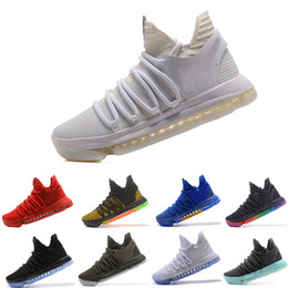 Wholesale Kd Zoom Basketball - 2018 ZOOM KD BHM Kevin Durant 10 X Triple Black Elite For Mens Basketball Shoes low cut Athletic Sport Sneakers