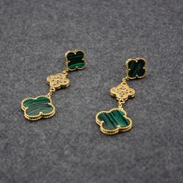 Wholesale clover diamond earrings - France Brand Clover Diamond Earrings Love Expend Glory Riches Party Valentine Gift Women Stud Alhambra Mother of Pearl Green Earrings