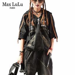 chándal de la marca coreana Rebajas Max Luxury Korean Brand 2 Piezas Girls Punk Style Streetwear Womens Denim Chándal Conjunto Mujer Jeans Sweat Suit Plus Size