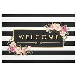 indoor outdoor carpets rugs Coupons - Welcome White Stripes Beautiful Floral Decor Doormat Indoor Outdoor Doormat Mat Rug Carpet