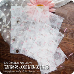 Wholesale Lace Paper Bags - Wholesale- 100pcs lot White Lace Bow Plastic Christmas Gift Packaging Bags Self-adhesive Seal DIY Candy and Cookie Baking Bag BZ068