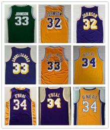 Wholesale Embroidery Logo Shirt - NCAA Wholesale Cheap embroidery #32 Johnson jerseys 33 Abdul Jabbar Shirt 32 Shaquille O'neal Yellow Blue Basketball Jersey Embroidery Logo