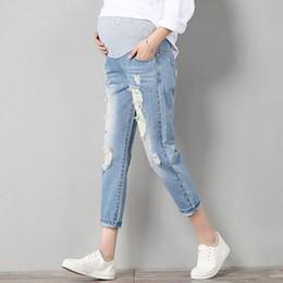 Wholesale Trouser Jeans For Pregnant Women - Jeans Maternity Pants For Pregnant Women Clothes Trousers Nursing Prop Belly Legging Pregnancy Ninth Pants