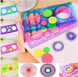 Wholesale plastic draws - High Quality Painting Multi-function Interesting Puzzle Spirograph Children Drawing Plastic Ruler Can Improve Start Work Ability