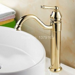 Wholesale Gold Sink Mixer - Single hanlde Modern Gold Plated Brass Kitchen Sink Faucet Single Lever Mixer Tap Swivel Spout agf055