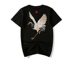 2019 ropa de la vendimia china Verano Vintage chino Tees Hombres Crane bordado ropa de moda camisetas de manga corta Tees ropa de la vendimia china baratos