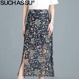 faldas largas largas del lápiz de la cintura Rebajas Faldas de gasa de  verano para mujer a53285ea033e