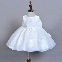 Wholesale White Dress Baptism Party - Vieeolove Girls Kids Lace Tutu White Party Baptism Dresses 2018 New Childrens Sleeveless Kids Clothing Floral Lace Dress VL-1140