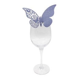 Wholesale Laser Glasses Green - 100 Pieces colorful Butterfly Table Mark Wine Glass Laser Cut Pearlescent ace Cards for Wedding Party Decoration Products