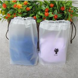 Sacchetti di scarpe in plastica viaggio online-Il sacchetto di plastica del Drawstring calza i sacchetti di immagazzinaggio del reggiseno della biancheria intima dei vestiti che imballano il sacchetto d'imballaggio di viaggio Lavare proteggono i cosmetici il sacchetto d'imballaggio di plastica 057