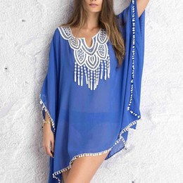 b76c6254315d4 Sexy Women Kaftan Sarong Blouses Bathing Suit Beach Cover ups Bikinis  Swimsuit Cover Up Beach Tunic Dress Lace Chiffon Pareo