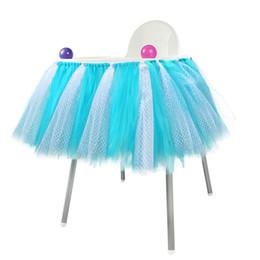 conjuntos de decoración de la ducha del bebé Rebajas Rosa azul Baby Shower Boy Party Set Tutu Tull falda para silla alta Baby Shower decoraciones para una niña 1er cumpleaños decoración nuevo diseño