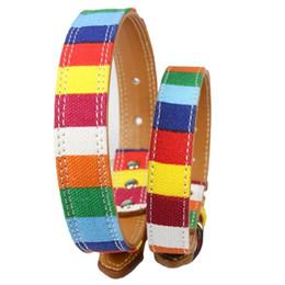 Collari di cani arcobaleno online-Arcobaleno colorato divertente cane collari tessuto di tela con materiale di simulazione in pelle dell'anello dell'animale domestico cane lega fibbia cani collana vendita calda 11 5cl4 Z