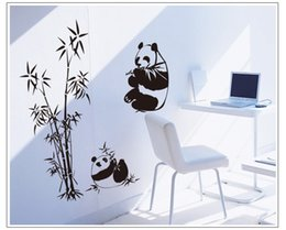 Wholesale Bamboo Wall Murals - Free shipping New Black White 100*90CM Panda Bamboo Wall Stickers Living Room TV Wall Sofa Removable Home Sticker Wall Sticker