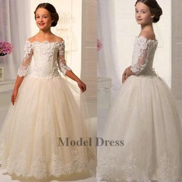 Wholesale wedding dress cream white - 3 4 Long Sleeves Flower Girls Dresses Off the Shoulder Lace Appliques Tops A Line Floor Length Cream Girls Party Dresses Prom Gowns