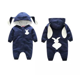 Wholesale baby rabbit rompers - Newborn infant baby toddler rompers hooded rabbit jumpsuits animals boys girls bodysuits children cotton kids clothing long sleeve pajamas B