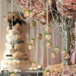 2019 guirnalda de perlas de navidad 20 metros 4mm Pearl Spray Strands Garland carrete de novia granos de la cadena para la boda de la fiesta de Navidad Centro de mesa de centro de la decoración del favor guirnalda de perlas de navidad baratos